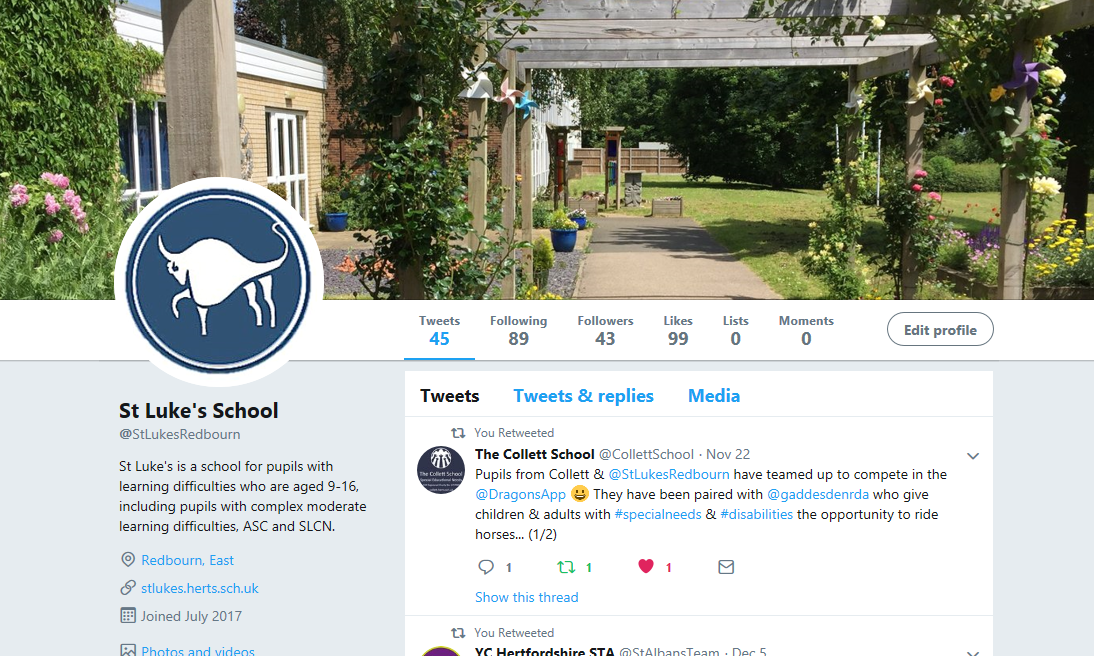 St Luke's School Twitter Profile